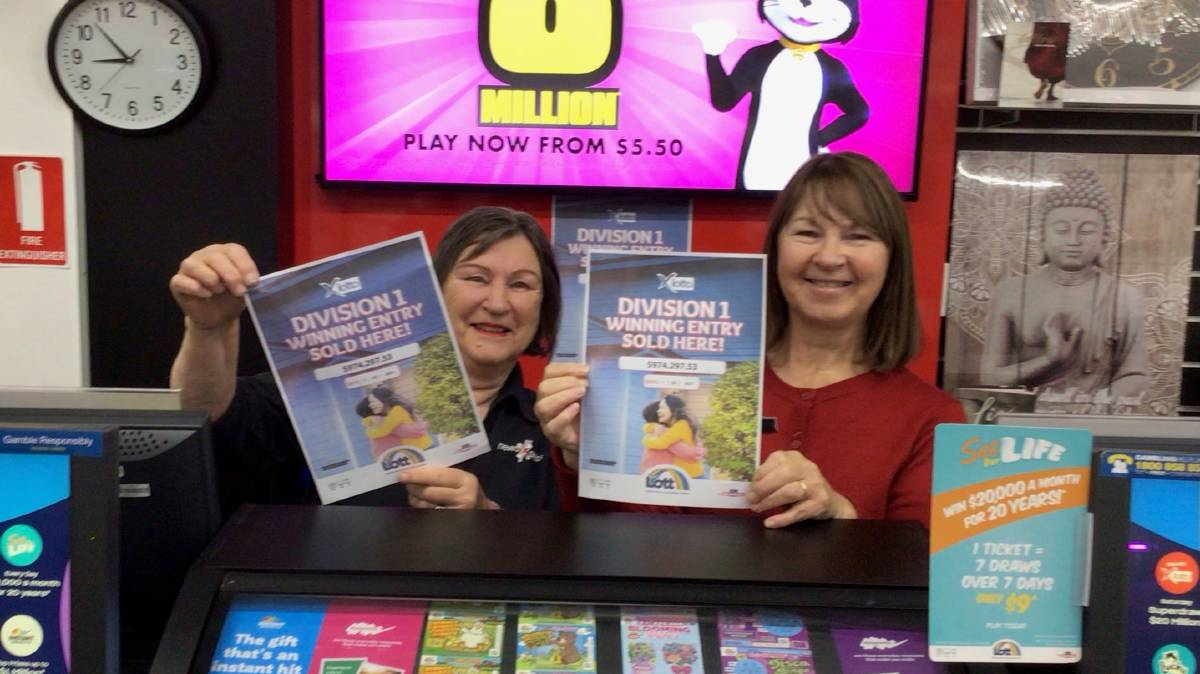 LOTTO: Joy Whennen and Rose Grove were happy to see a division one winning X Lotto ticket was bought from newsXpress Beer's Port Lincoln. Photo: supplied