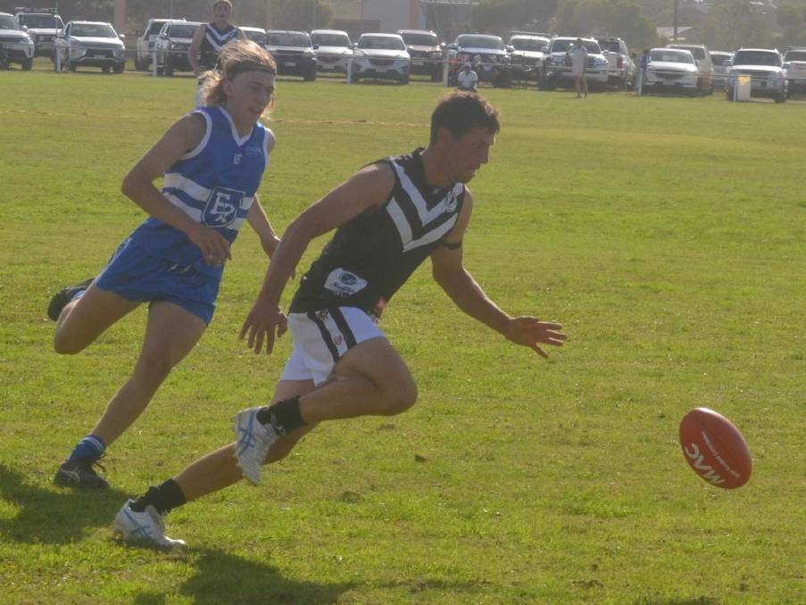 EYES ON THE BALL: Eastern Ranges grabbed the points against Ports in what was a tightly-contested A grade match at Port Neill on Saturday. Photo: Judith Rehn