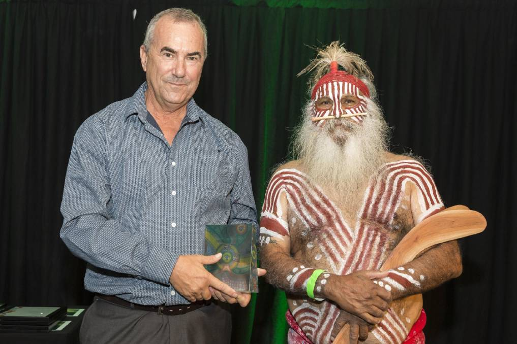 AWARD: Ceduna community paramedic David Jaensch receives the Excellence in Reconciliation Award from Ngarrindjeri elder Major Sumner. Photo: Supplied